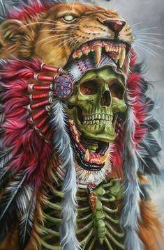 Skull and headdress Arte Horror, Horror Art, Tattoo Indio, Indian Skull Tattoos, Backpiece Tattoo, Aztec Warrior, Skull Pictures, Skull Artwork, Tatoo