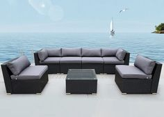Outdoor 7 piece Lounge Setting Wicker Rattan 6 seats + coffee table  Reference: ZX 010305-02209
