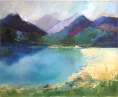 Mountain Lake. Mixed Media Limited Giclee prints available.
