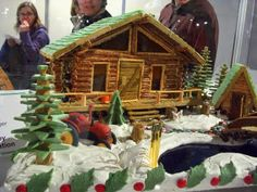 Log cabin love! Not, technically, a gingerbread house - I believe those logs are giant pretzel sticks.