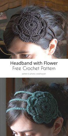 Headband with Flower Free Crochet Patterns Easy Crochet Headbands, Crochet Headband Pattern, Crochet Flower Patterns, Crochet Flowers, Knitting Patterns, Lace Headbands, Knitting Ideas, Fabric Flowers, Crochet Fox