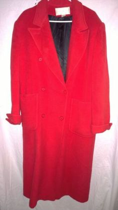 Vintage-The-Limited-womens-long-size-8-coat-red-100-wool-made-in-the-USA