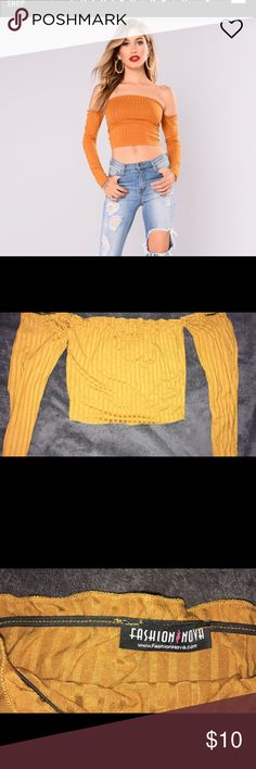 Mustard off the shoulder fashion nova crop Cute off the shoulder crop. Tried on but never worn out. No stains. New condition. Fashion Nova Tops Crop Tops