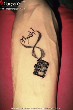 Beautiful Small Camera and Infinity Love's Name Concept and Tattoo Design by Aaryan Tattooist..!! Stay connected: +919099801171