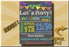 Birthday chalkboard invitation boy birthday by DigitalitemsShop