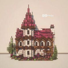 Casa Medieval Minecraft, Minecraft Cottage, Cute Minecraft Houses, Minecraft Plans, Minecraft House Designs, Amazing Minecraft, Minecraft Tutorial, Minecraft Blueprints, Minecraft Crafts
