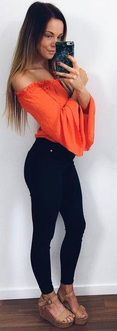 #summer #trendy #outfits  | Orange Bardot Top + Black Denim