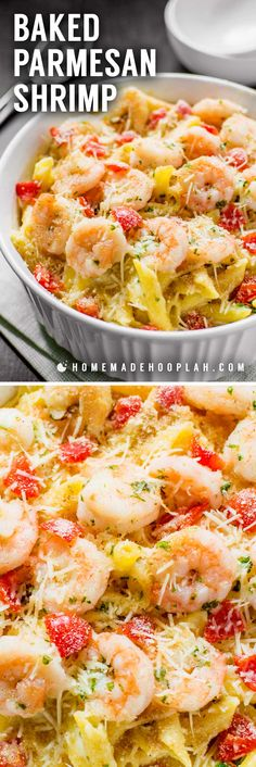 Baked Parmesan Shrimp! Bring the iconic taste of Olive Garden's baked parmesan shrimp to the comfort of your own home with this spot-on copycat recipe. | HomemadeHooplah.com