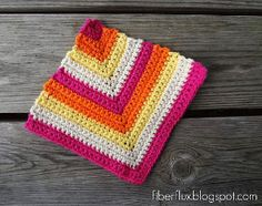 Add some bright color to your kitchen with this Rainbow Sherbet Dishcloth. This crochet dishcloth pattern is a simple striped square made of single crochet stitches that can easily be made larger or smaller as needed.