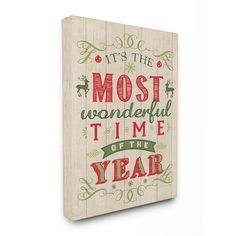 Stupell It's the Most Wonderful Time of the Year Holiday Typography Art 16 x 20…