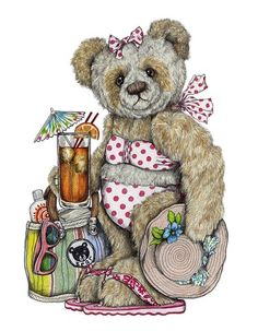 Signed and mounted fine art print on premium quality textured heavy weight art paper X X - X X - greetings cards with envelope X X - Tatty Teddy, Bear Paintings, Bear Drawing, Doodle Doo, Bear Illustration, Cuddling, Charity, Doodles, Greeting Cards