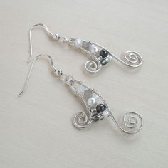 Sterling Silver Swirl Earrings Earings Swarovski Crystal Beads And Pearls White Grey Gray Dangle Wire Wrapped Jewelry Handmade via Etsy