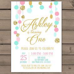 Rosa menta brillo oro invitación cumpleaños invitación | Etsy