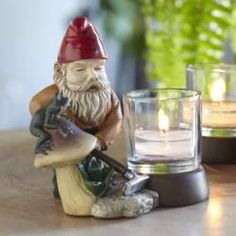 Gnick - Gardening Gnome Votive Holder