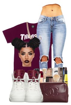"""Thrasher"" by ballislife ❤ liked on Polyvore featuring BaubleBar, NIKE and Lime Crime"