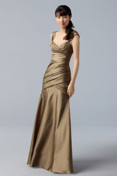 Straps taffeta bridesmaid dress with empire waist