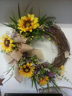 Sunflower wreath crafted by Rebecca Hummel for Buy of the Season Spring Wreaths, Autumn Wreaths, Summer Wreath, Wreaths For Front Door, Door Wreaths, Grapevine Wreath, Wreath Crafts, Wreath Ideas, Diy Crafts