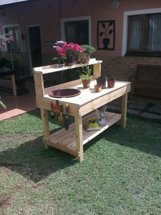 Costway Garden Wooden Potting Bench Work Station Table Tool