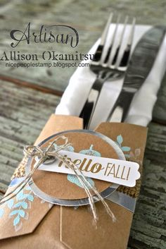 Make fabulous table decor with the Gift Card Envelope & Trims Thinlits from Stampin' Up! Check out my post for a video tutorial too! - Allison Okamitsu
