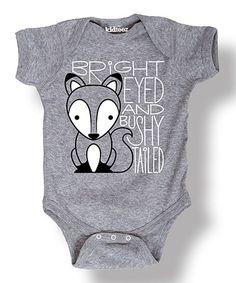 Love this Heather Gray 'Bushy Tailed' Fox Bodysuit - Infant on #zulily! #zulilyfinds