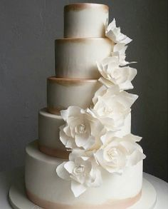 Contemporary sugar flowers cascading down a hand painted cake in subtle champagne tones. Contemporary sugar flowers cascading down a hand painted cake in subtle champagne tones. Snow White Wedding, Snow Flower, Hand Painted Cakes, Unique Cakes, Sugar Flowers, Edible Art, Beautiful Cakes, Tart, Wedding Cakes