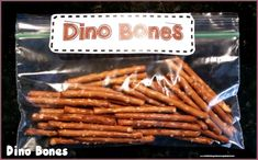 Use pretzels to make dinosaur bones snacks for a dinosaur themed unit, a dinosaur theme or a dinosaur birthday party.  Dinosaur snacks.  Dinosaurs.