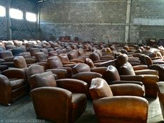 "marleyandme:      ""THE CLUB""  French club chairs circa 1940s    Oh my gosh…. more leather chairs than I can handle. This is awesome.  @johndpyle"