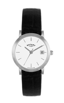 Rotary Ladies Watch Stainless Steel Date Aperture White Dial Batons Black Strap Reference LS02622 02