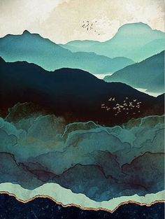 Birds soar high above the mountains in this beautiful watercolor-style canvas print. Layers of navy, teal, and gold will add elegance to any room. Perfect for elegant living room decor or bedroom decor. Multiple sizes available. Free shipping worldwide.