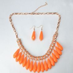 Water Shape Rhinestone-encrusted Necklace and Earrings Set Orange