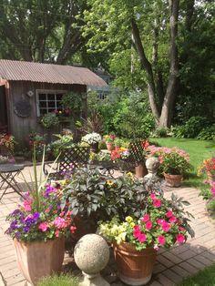 pots on patio Back Patio, Backyard Patio, Amazing Gardens, Beautiful Gardens, Outdoor Rooms, Outdoor Living, Home And Garden, Garden Fun, Garden Ideas