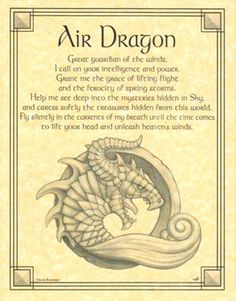Book of Shadows AIR DRAGON Poem Page Poster BOS by Travis Bowman Wicca