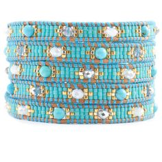 Turquoise Mix and Crystal Wrap Bracelet on Beige Leather | Chan Luu