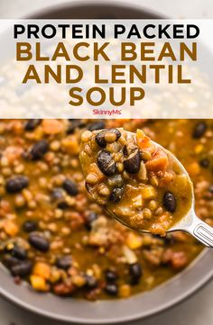 Savory and satisfying, this flavorful, protein-packed Black Bean and Lentil Soup is ideal for Meatless Mondays. Savory and satisfying, this flavorful, protein-packed Black Bean and Lentil Soup is ideal for Meatless Mondays. Lentil Soup Recipes, Veggie Recipes, Whole Food Recipes, Diet Recipes, Cooking Recipes, Healthy Recipes, Easy Lentil Soup, Recipes For Lentils, Healthy Lentil Soup