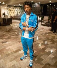 The jogging pants blue Prada worn by Lil Baby on the account Instagr… – Bloğ Rapper Outfits, Drake Clothing, Lil Bibby, Teen Boy Fashion, American Rappers, Lil Pump, Hip Hop Fashion, Celebrity Babies, Classy Outfits
