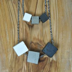 Concrete necklace with three cubes Modern concrete necklace Cement Jewelry, Stainless Steel Chain, Minimalist Jewelry, Elegant, Simple Style, Arrow Necklace, Jewelry Design, Jewelry Making, Pendants