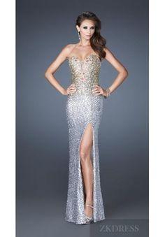 Elegant Sleeveless Column Silver Natural Sweetheart Evening Dress zkdress24137