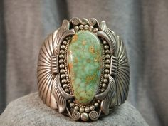 Vintage Hand Wrought Sterling Silver Turquoise Navajo Cuff Bracelet by AnaDawn