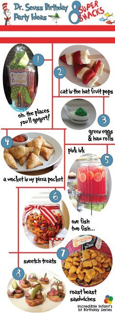 Dr Seuss Birthday Party Ideas - Snacks http://www.incredibleinfant.com @Bridget Funkey    you could use these for cooking activities