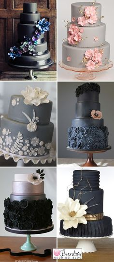Black and Grey Wedding Cake Gray and White Wedding Cake Gray and Silver Wedding Cake Pink and Gray Wedding Cake Ideas Black and Gray Wedding Cake Black Wedding Cakes, Elegant Wedding Cakes, Trendy Wedding, Wedding Black, Gorgeous Cakes, Pretty Cakes, Gray Weddings, Simple Weddings, Rustic Wedding Decorations