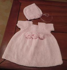 French Rosette Baby Dress Knitting Pattern PDF. $5.00, via Etsy.