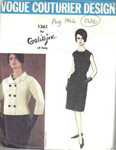 1964 Vintage VOGUE Sewing Pattern B34 DRESS & JACKET 1726 By