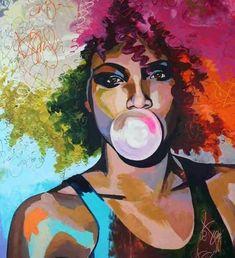 Graffiti Style Wall Art - Super funky wall art of a lady blowing bubblegum Canvas Art Prints, Painting Prints, Canvas Wall Art, Spray Painting, Afro Painting, Painting Abstract, Figure Painting, Oil Paintings, Graffiti Wall Art