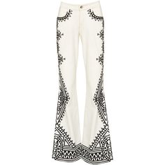 Alice + Olivia Brick Morgana Embroidered Dress (720 BRL) ❤ liked on Polyvore featuring dresses, pant, white day dress, white embroidered dress, white boho dress, white loose dress and bohemian style dresses