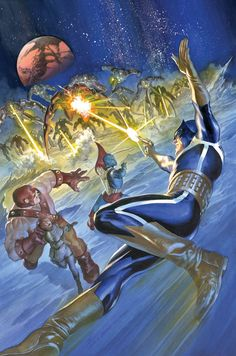 """GUARDIANS 3000 #3 DAN ABNETT (W) • GERARDO SANDOVAL (A) Cover by ALEX ROSS VARIANT COVER BY GERARDO SANDOVAL • Who are The Stark? What is their aim? Can the Guardians survive a lethal clash with such formidable entities? Action, cosmic wonder and some surprise allies, brought you by the Most Amazing Creators in the World, D and G...."""" 32 PGS./Rated T …$3.99"""