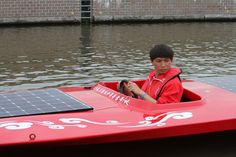 China Dragon during the Dutch Solar Challenge 2014. They raced in the A class of the world cup for solar powered boats.
