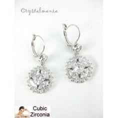 """Aretes plateados """"cubic zirconia"""" con cristal en tono plateado de 4 x 2 cm estilo 10084"""