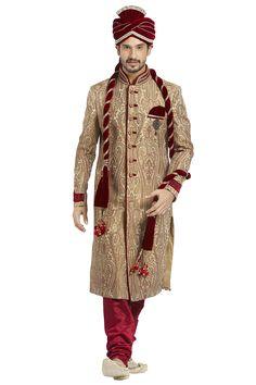 Manyavar Beige Silk Embroidered Jodhpuri Sherwani