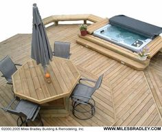 Ideas For Small Backyards With Jacuzzi Serenitywood Decks Hot Tub Backyard, Backyard Patio, Backyard Landscaping, Backyard Ideas, Whirlpool Deck, Sunken Hot Tub, Diy Deck, Diy Garden, Building A Deck