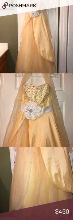 Sherri Hill Ballgown This is a Sherri hill ballgown. I've only worn it once. It's basically brand new. I didn't have it altered or anything. Purse and earrings come separate. The color is more of a yellowish/ champaign color. This beautiful needs a new home. I also need this to sell fast, so I can visit my boyfriend soon. Sherri Hill Dresses Prom